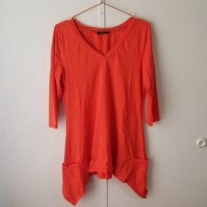 Tops - Orange Coral 3/4 Sleeve Pocket Shirt
